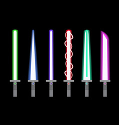 set of light sword in flat style vector image