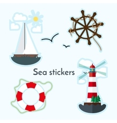 Set of sea object - lighthouse sail boat ship vector image