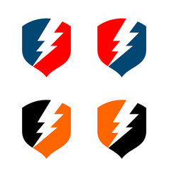 Set thunderbolt shield logo template design vector