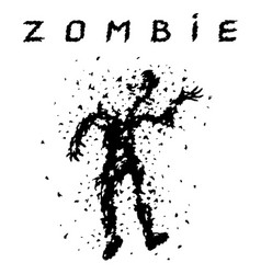 Shooting a zombie from a machine gun vector