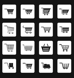 Shopping cart icons set squares vector