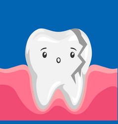 sick broken tooth vector image