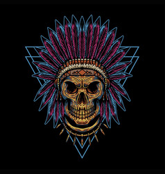 skull indian triangle badge vector image