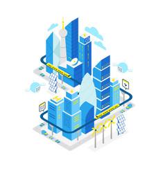 Smart city data center isometric building hosting vector