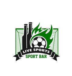 soccer beer pub or football bar icon vector image