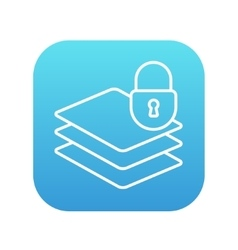 Stack of papers with lock line icon vector image