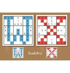 Sudoku set with answers W X letters vector image