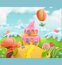 sweet candy land 3d background plasticine art vector image