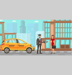 Taxi and driver services flat vector