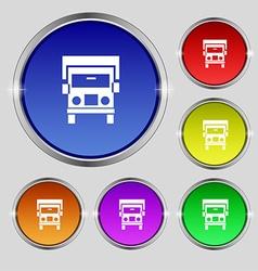 Truck icon sign Round symbol on bright colourful vector