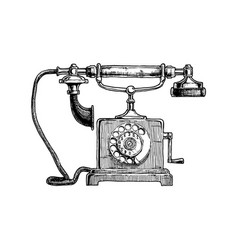 Typical telephone end of xviii century vector