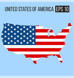 united states of america usa map border with flag vector image