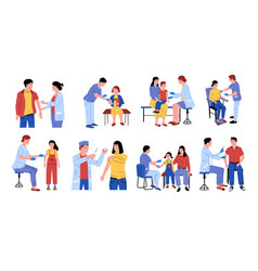 vaccination cartoon doctors make injection vector image