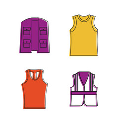 Vest icon set color outline style vector