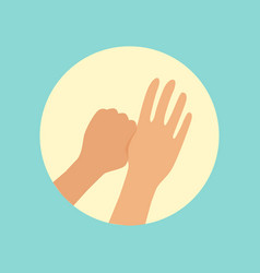 Washing hands focus on thumbs finger round vector