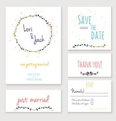 Wedding invitation card set vector image