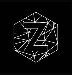 z geometric triangle blockchain font vector image