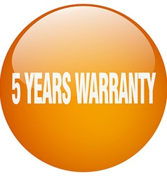 5 years warranty orange round gel isolated push vector image