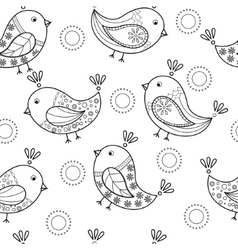 Coloring antistress with cartoon birds vector image vector image