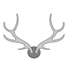 Deer antler icon black monochrome style vector image vector image