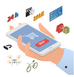 design concept of mobile shopping vector image