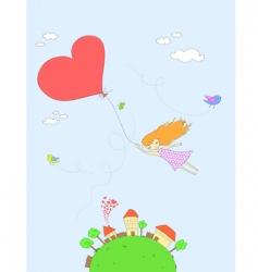 girl flying vector image vector image