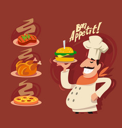 happy chef serving the dish vector image