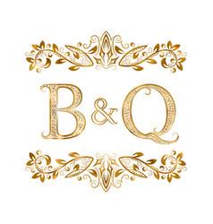 Bq vintage initials logo symbol letters b vector