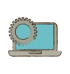 Drawing laptop technology gears work vector