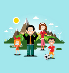 people with flat design landscape on background vector image vector image