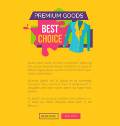 premium goods best choice promo poster push button vector image vector image