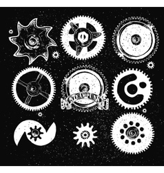 Steampunk gear collection vector image