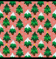 Christmas theme tree background seamless pattern vector image