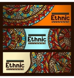 Ethnic banners design with hand drawn ornament vector image vector image