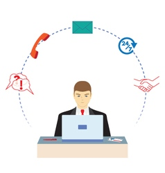 Male working in a call center Support service vector image vector image