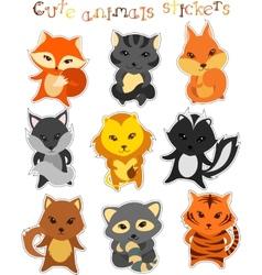 set of cute funny cartoon animals vector image