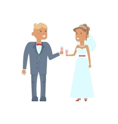 Wedding couple characters with glasses vector