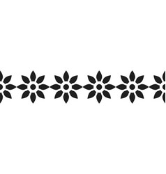 border of black silhouetted flowers for decoration vector image vector image
