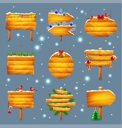 christmas wooden signs set vector image