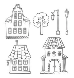 set with different houses sketches houses vector image