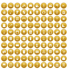 100 housework icons set gold vector