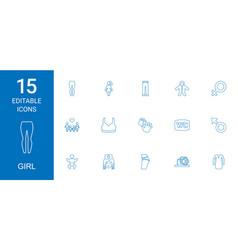 15 girl icons vector