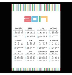 2017 simple business wall calendar color bar code vector image