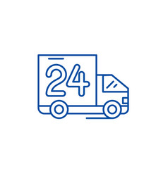 24 hours delivery line icon concept 24 hours vector image