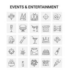 25 hand drawn events and entertainment icon set vector