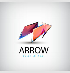 3d colorful shiny crystal arrow logo icon vector