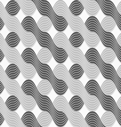 3D shades of gray interlocking striped waves vector