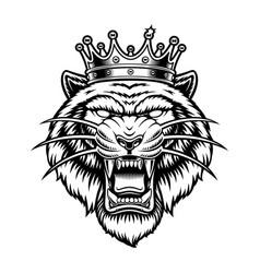 A tiger in crown vector