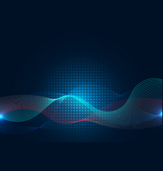 abstract blue wave line with halftone on dark vector image