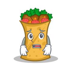 Afraid kebab wrap character cartoon vector